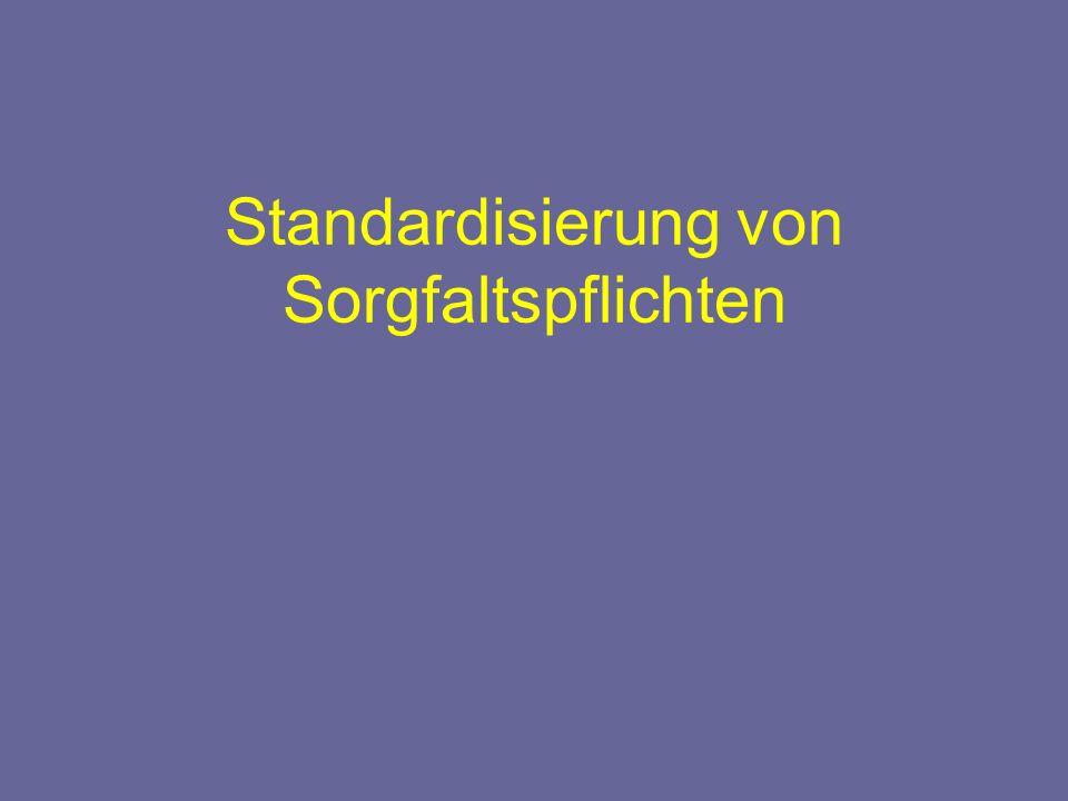 Standardisierung von Sorgfaltspflichten