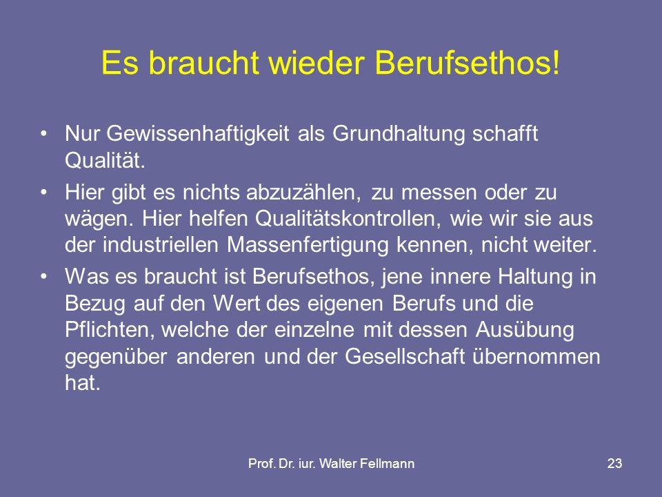 Prof. Dr. iur. Walter Fellmann23 Es braucht wieder Berufsethos.