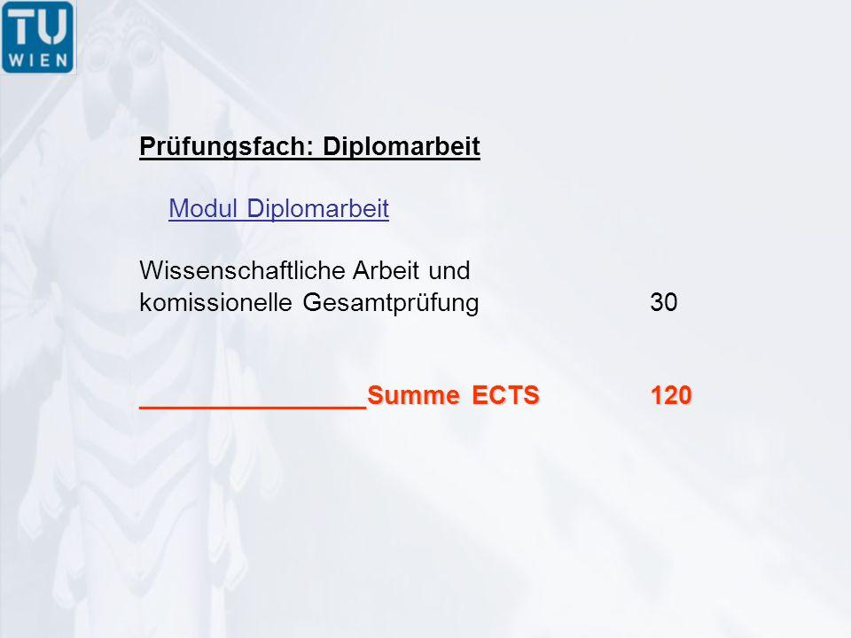Prüfungsfach: Diplomarbeit Modul Diplomarbeit Wissenschaftliche Arbeit und komissionelle Gesamtprüfung30 ________________Summe ECTS120