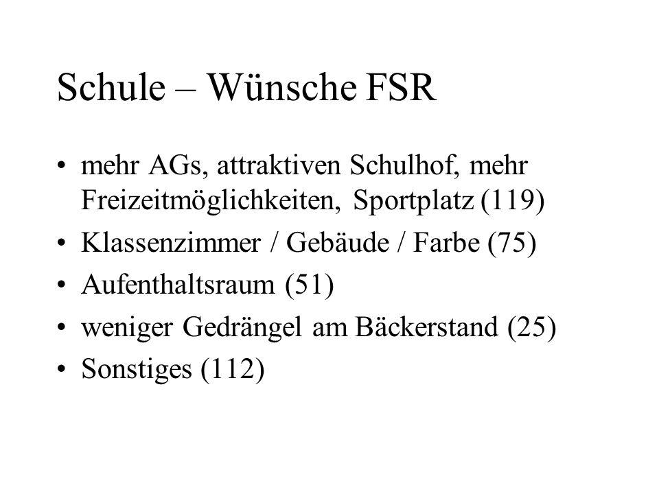 Schule – Wünsche FSR mehr AGs, attraktiven Schulhof, mehr Freizeitmöglichkeiten, Sportplatz (119) Klassenzimmer / Gebäude / Farbe (75) Aufenthaltsraum