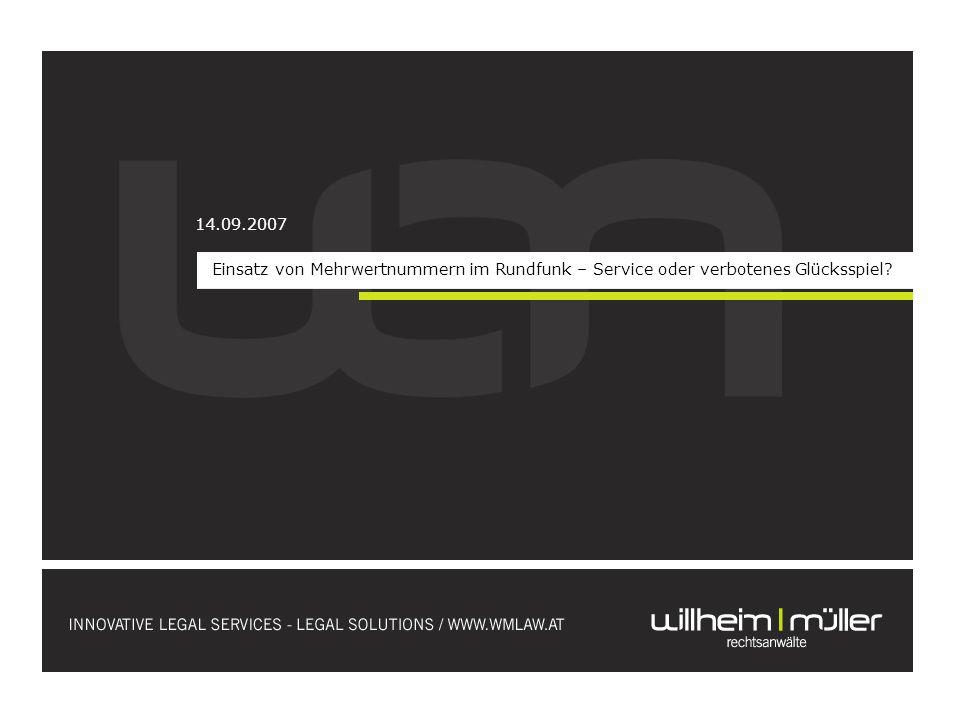 Mehrwertdienste (Mehrwertnummern, Mehrwert-SMS) schaffen lukrative Einnahmequelle für Rundfunkveranstalter bei Gewinnspielen anfallendes Verbindungsentgelt dient nämlich nur zu einem kleinen Teil der Deckung der Dienstleistungen des jeweils in Anspruch genommenen Telekommunikationsdienstes; zu einem großen Teil kommt Verbindungsentgelt dem jeweiligen Auftraggeber des Mehrwertdienstes (also Rundfunkveranstalter) zu PROBLEM:Ist ein vom Rundfunkveranstalter veranstaltetes Gewinnspiel, an dem die TeilnehmerInnen über einen Mehrwertdienst teilnehmen, als verbotenes Glücksspiel zu qualifizieren?