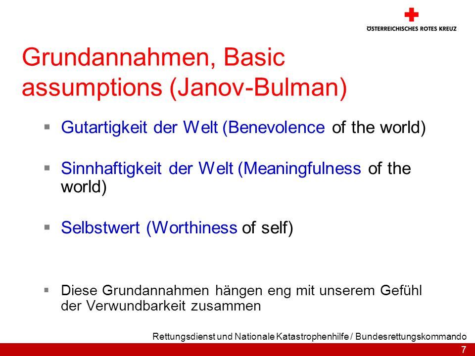 7 Rettungsdienst und Nationale Katastrophenhilfe / Bundesrettungskommando Grundannahmen, Basic assumptions (Janov-Bulman) Gutartigkeit der Welt (Benev