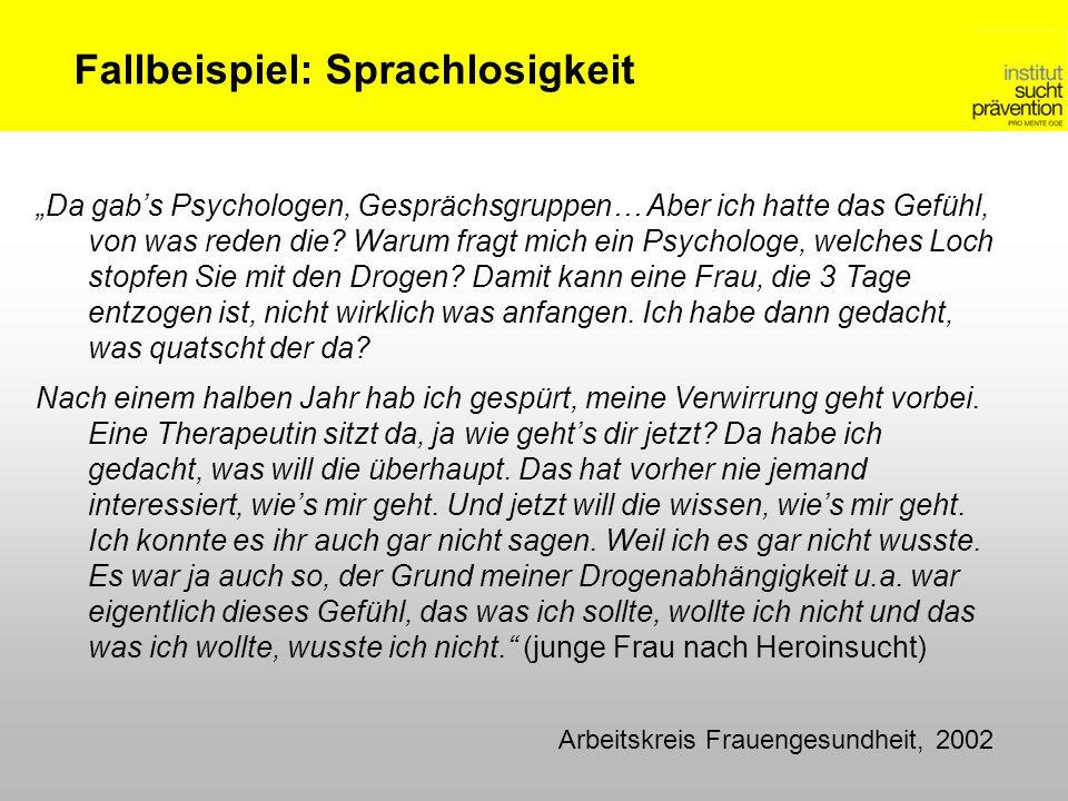 Fallbeispiel: Sprachlosigkeit Arbeitskreis Frauengesundheit, 2002 Da gabs Psychologen, Gesprächsgruppen… Aber ich hatte das Gefühl, von was reden die?