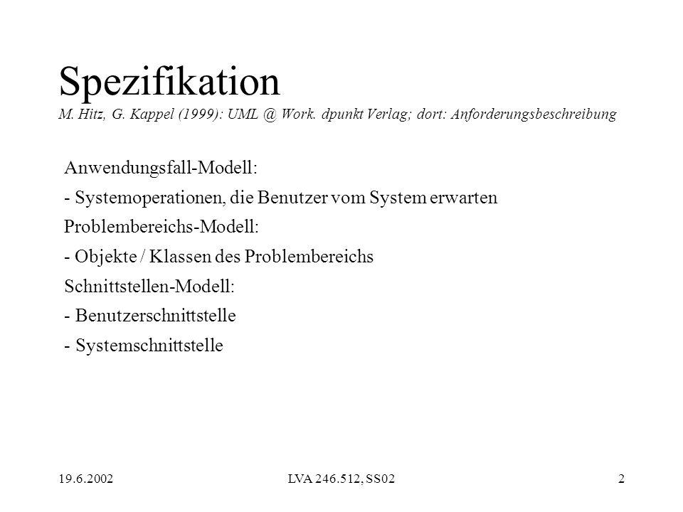 19.6.2002LVA 246.512, SS022 Spezifikation M. Hitz, G. Kappel (1999): UML @ Work. dpunkt Verlag; dort: Anforderungsbeschreibung Anwendungsfall-Modell: