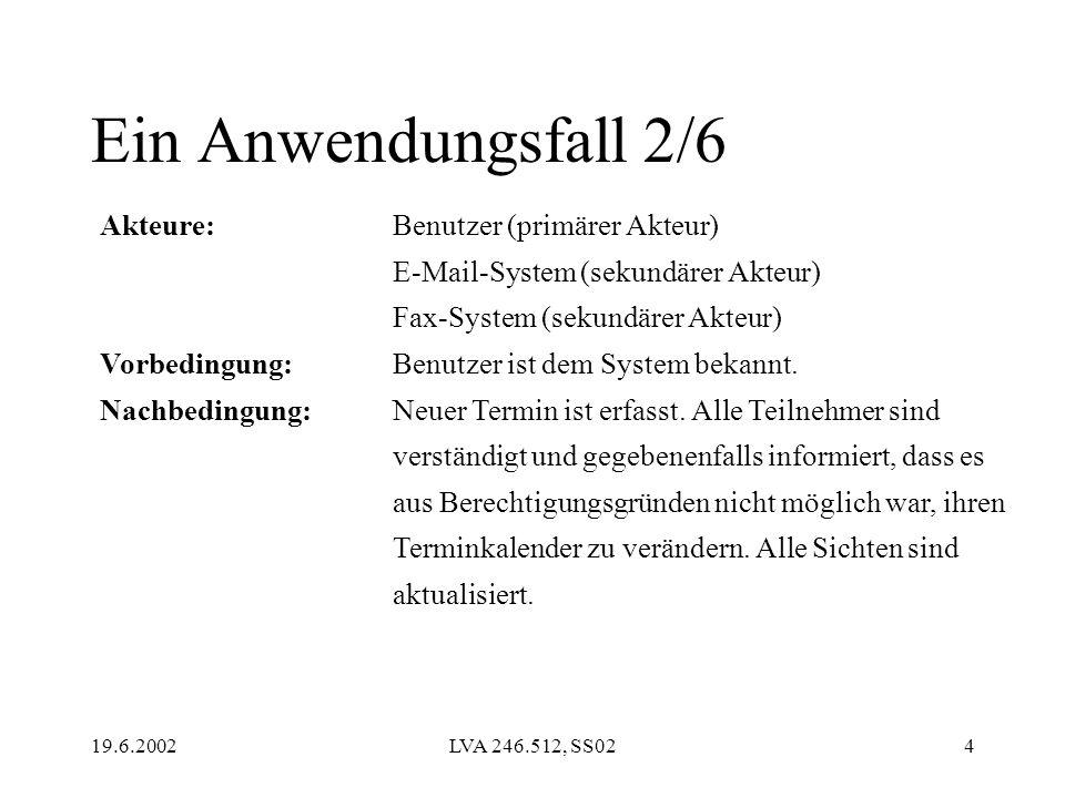 19.6.2002LVA 246.512, SS024 Akteure: Vorbedingung: Nachbedingung: Benutzer (primärer Akteur) E-Mail-System (sekundärer Akteur) Fax-System (sekundärer