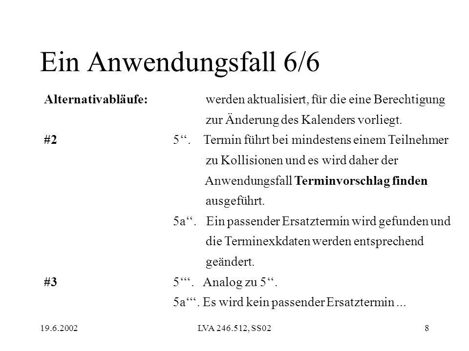 19.6.2002LVA 246.512, SS028 Alternativabläufe: #2 #3 werden aktualisiert, für die eine Berechtigung zur Änderung des Kalenders vorliegt. 5. Termin füh