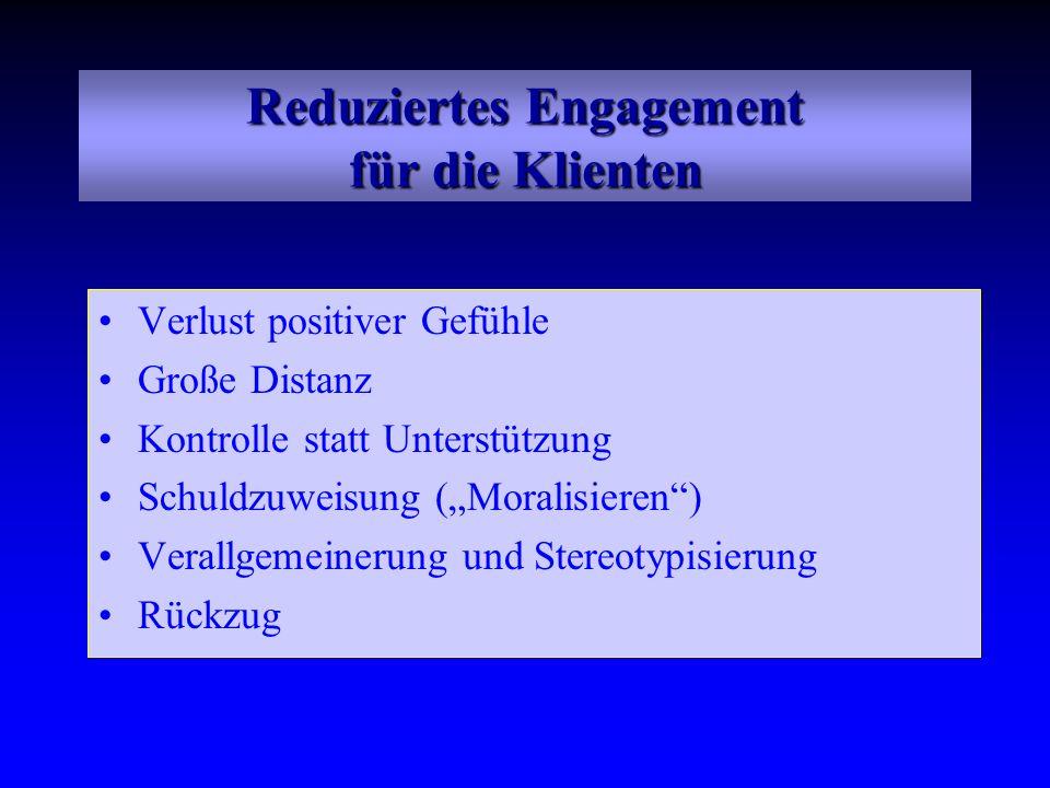 Reduziertes Engagement für die Klienten Verlust positiver Gefühle Große Distanz Kontrolle statt Unterstützung Schuldzuweisung (Moralisieren) Verallgem