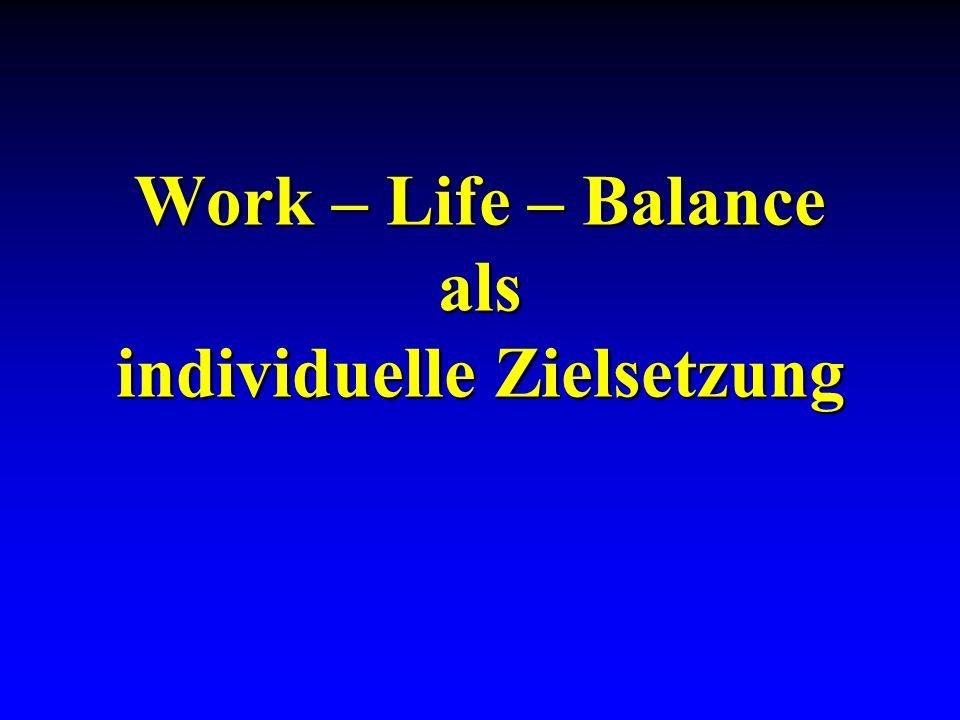 Work – Life – Balance als individuelle Zielsetzung