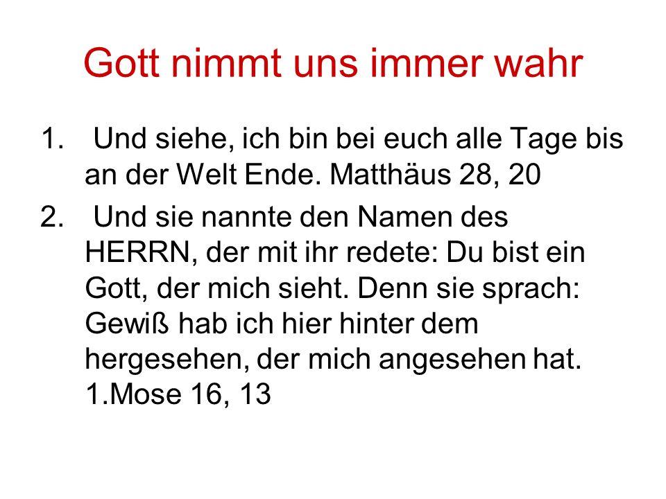 Gott nimmt uns immer wahr 1. Und siehe, ich bin bei euch alle Tage bis an der Welt Ende. Matthäus 28, 20 2. Und sie nannte den Namen des HERRN, der mi