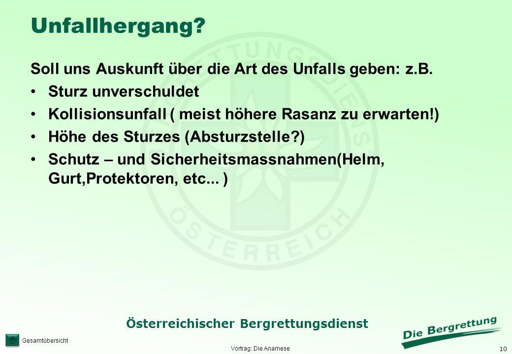 10 Österreichischer Bergrettungsdienst Gesamtübersicht Unfallhergang? Soll uns Auskunft über die Art des Unfalls geben: z.B. Sturz unverschuldet Kolli