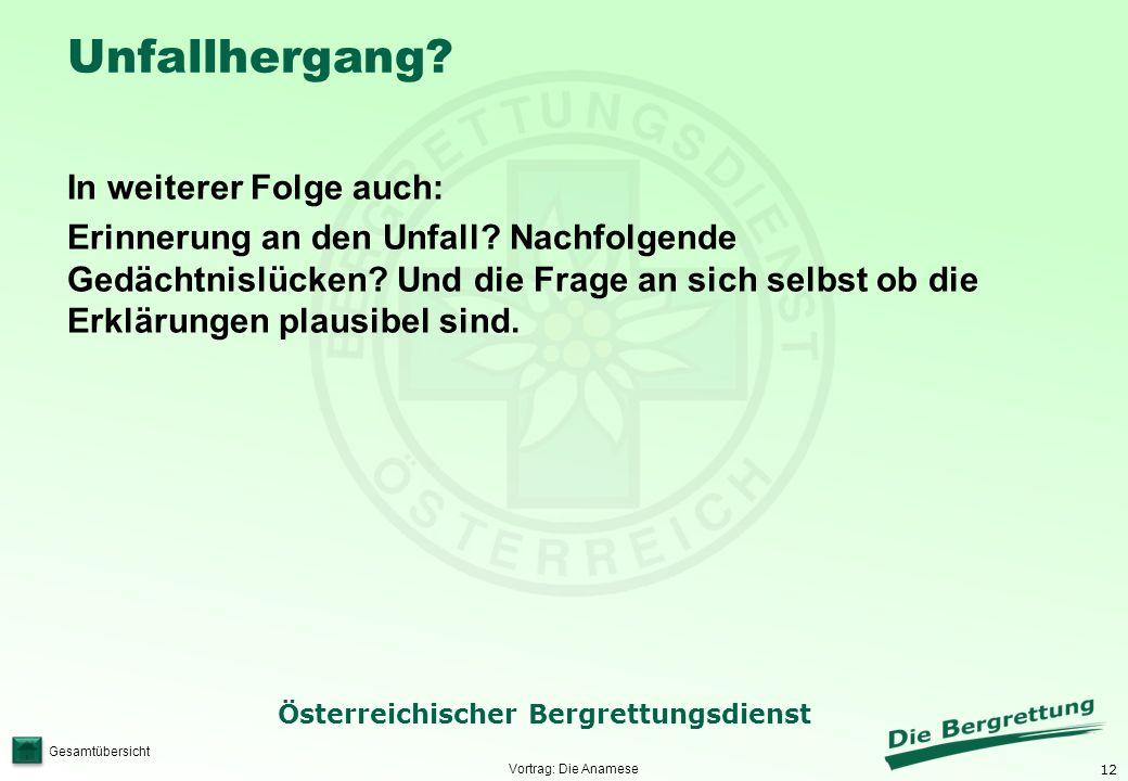 12 Österreichischer Bergrettungsdienst Gesamtübersicht Unfallhergang? In weiterer Folge auch: Erinnerung an den Unfall? Nachfolgende Gedächtnislücken?