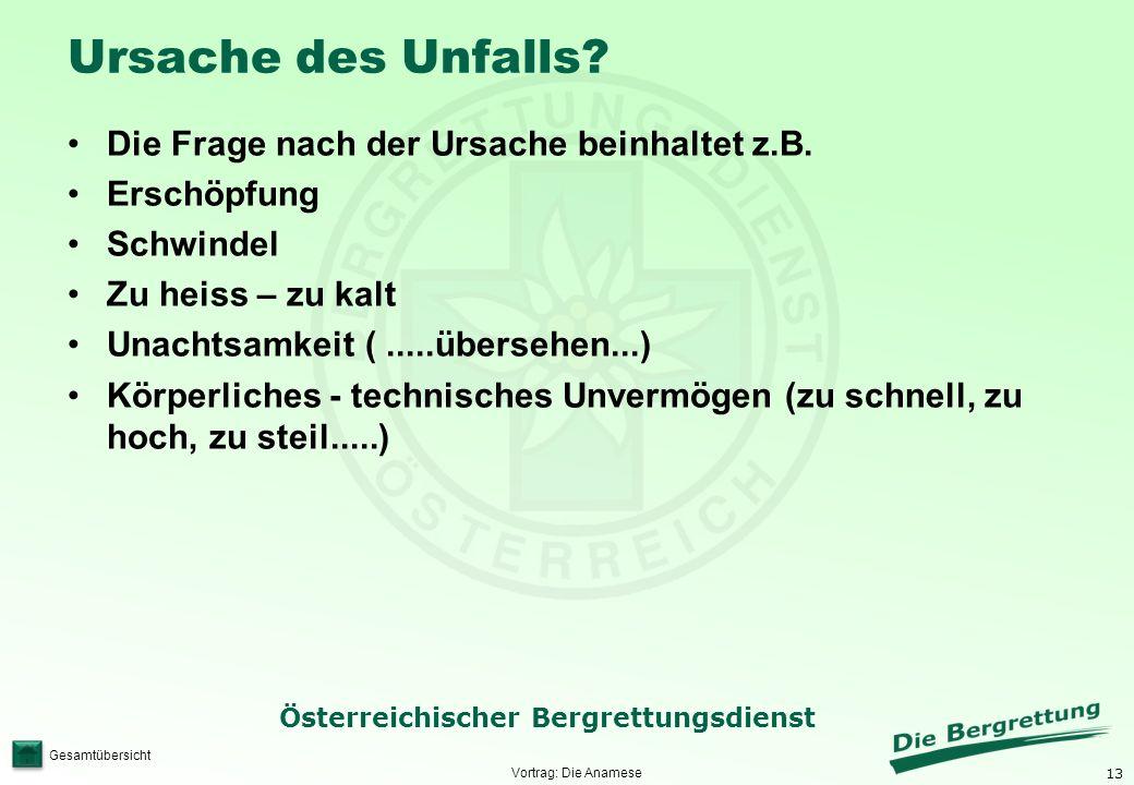 13 Österreichischer Bergrettungsdienst Gesamtübersicht Ursache des Unfalls? Die Frage nach der Ursache beinhaltet z.B. Erschöpfung Schwindel Zu heiss