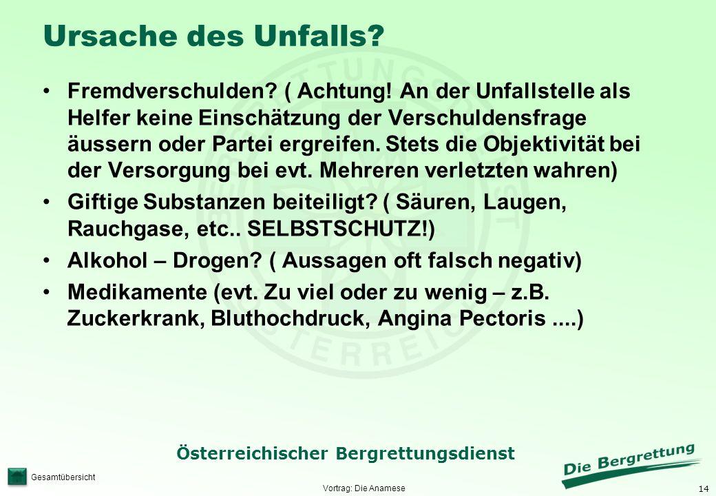 14 Österreichischer Bergrettungsdienst Gesamtübersicht Ursache des Unfalls? Fremdverschulden? ( Achtung! An der Unfallstelle als Helfer keine Einschät