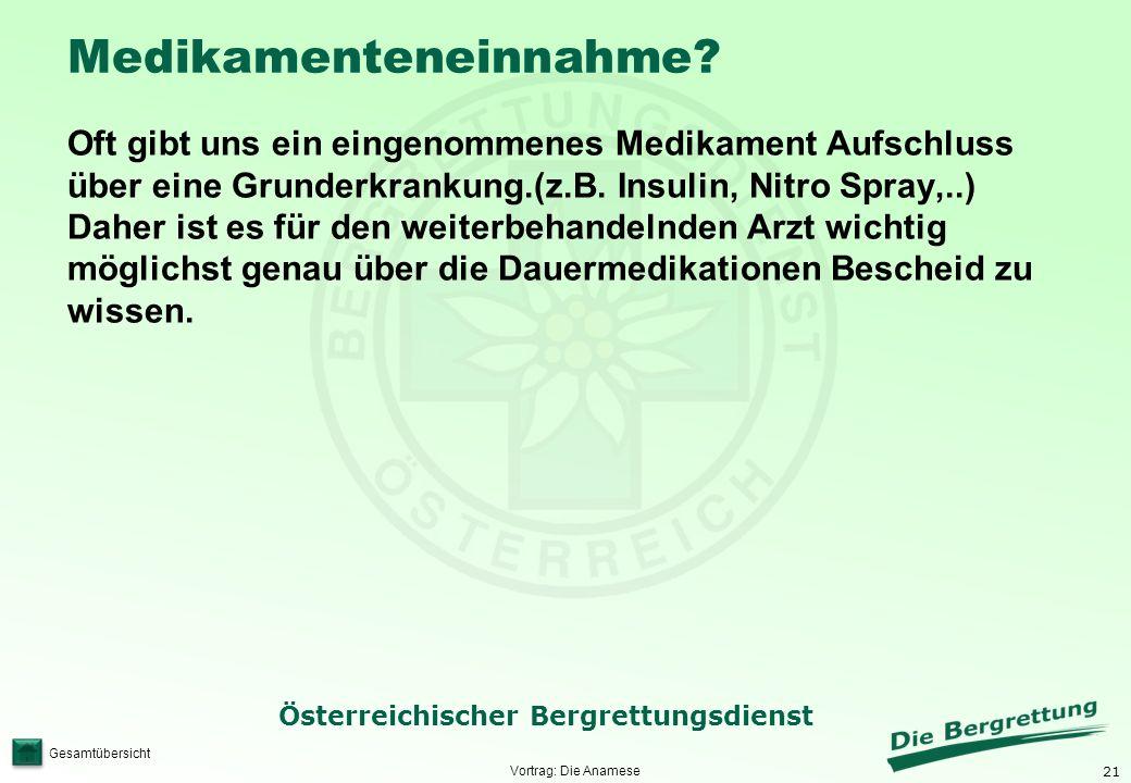 21 Österreichischer Bergrettungsdienst Gesamtübersicht Medikamenteneinnahme? Oft gibt uns ein eingenommenes Medikament Aufschluss über eine Grunderkra