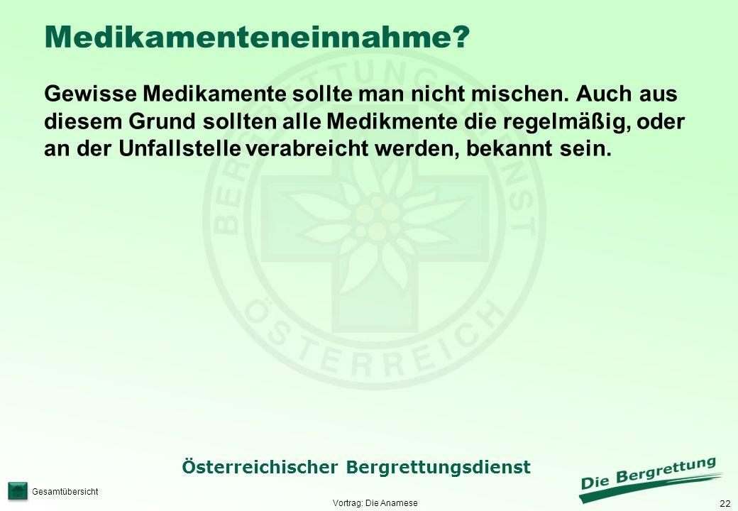 22 Österreichischer Bergrettungsdienst Gesamtübersicht Medikamenteneinnahme? Gewisse Medikamente sollte man nicht mischen. Auch aus diesem Grund sollt