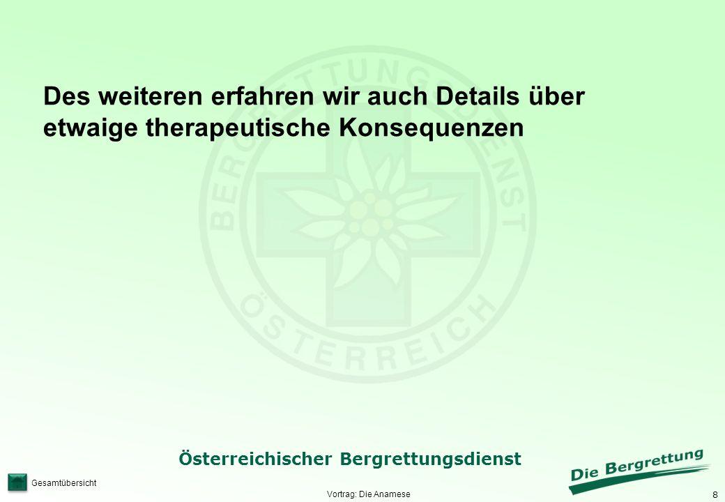 8 Österreichischer Bergrettungsdienst Gesamtübersicht Vortrag: Die Anamese Des weiteren erfahren wir auch Details über etwaige therapeutische Konseque