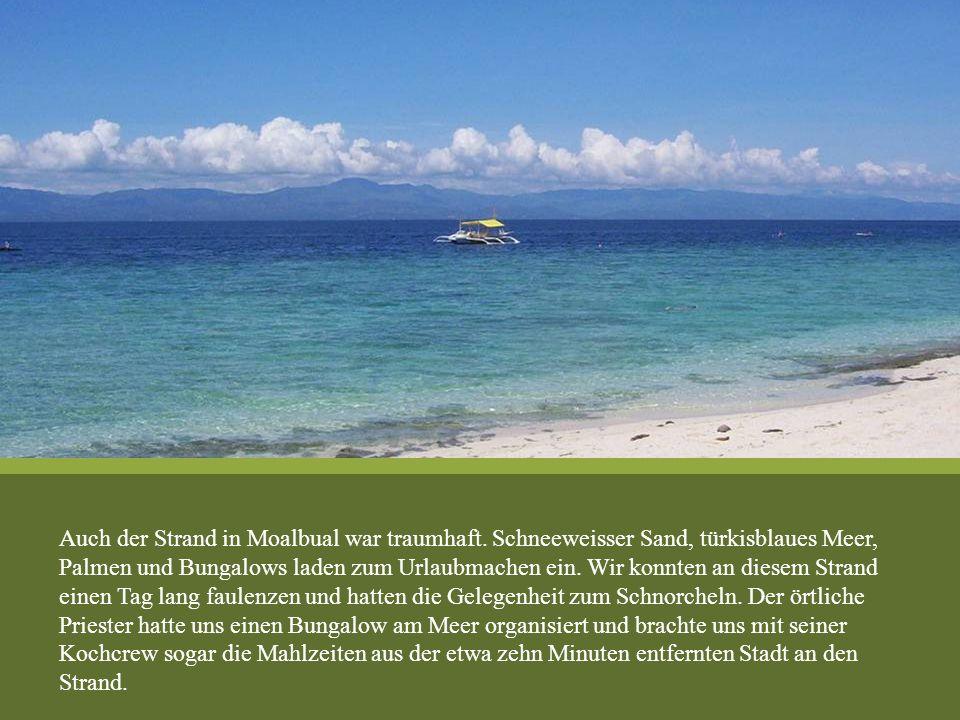 Auch der Strand in Moalbual war traumhaft. Schneeweisser Sand, türkisblaues Meer, Palmen und Bungalows laden zum Urlaubmachen ein. Wir konnten an dies