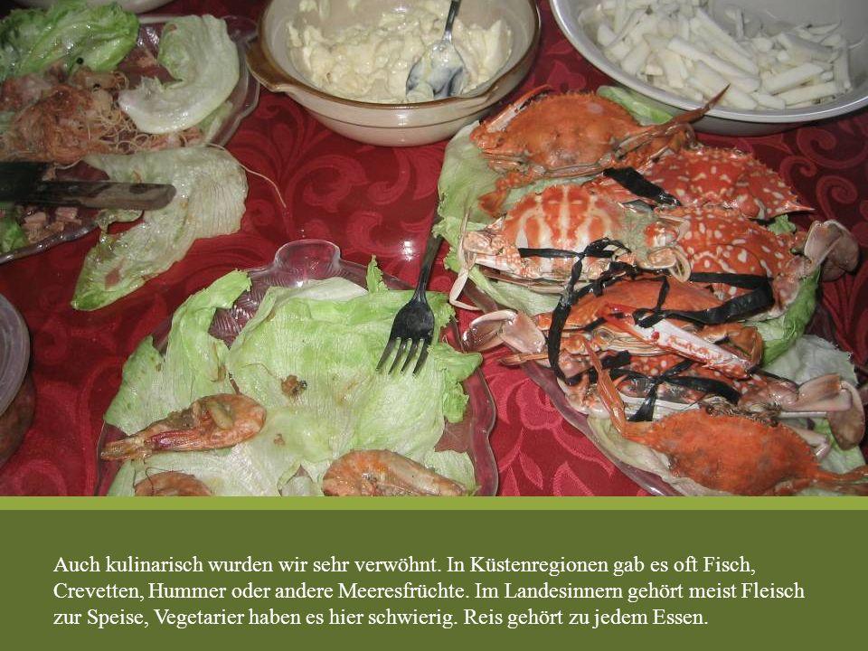 Auch kulinarisch wurden wir sehr verwöhnt. In Küstenregionen gab es oft Fisch, Crevetten, Hummer oder andere Meeresfrüchte. Im Landesinnern gehört mei