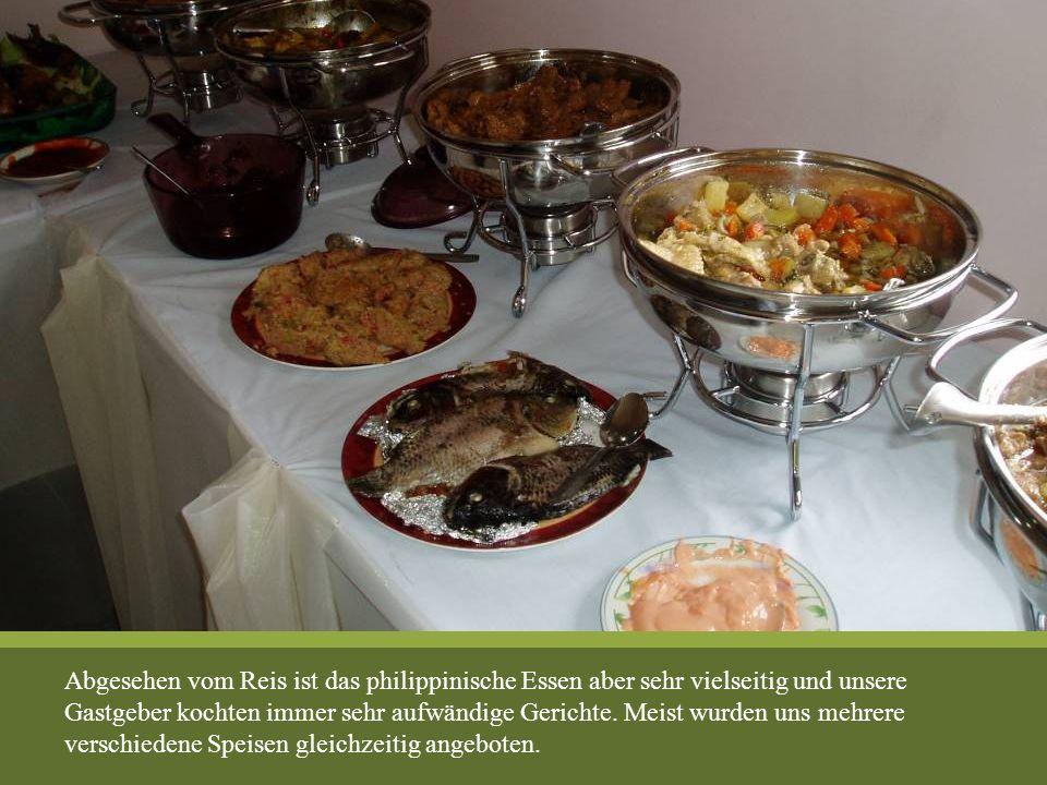 Abgesehen vom Reis ist das philippinische Essen aber sehr vielseitig und unsere Gastgeber kochten immer sehr aufwändige Gerichte. Meist wurden uns meh