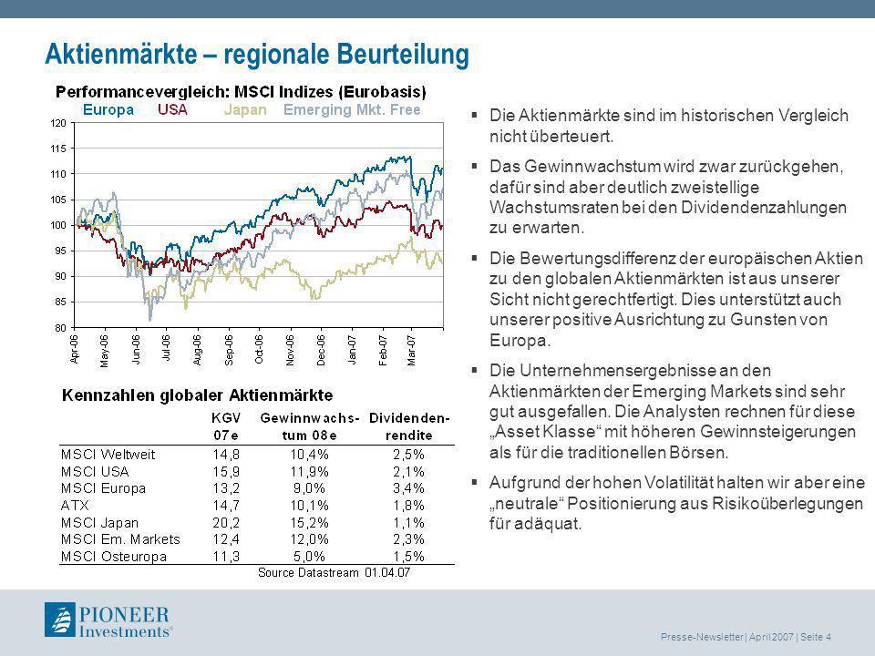 Presse-Newsletter | April 2007 | Seite 5 Aktienmärkte - sektorale Beurteilung Die Energie- und Versorgerwerte als auch die Basisindustrietitel legten im Vormonat besonders kräftig zu.