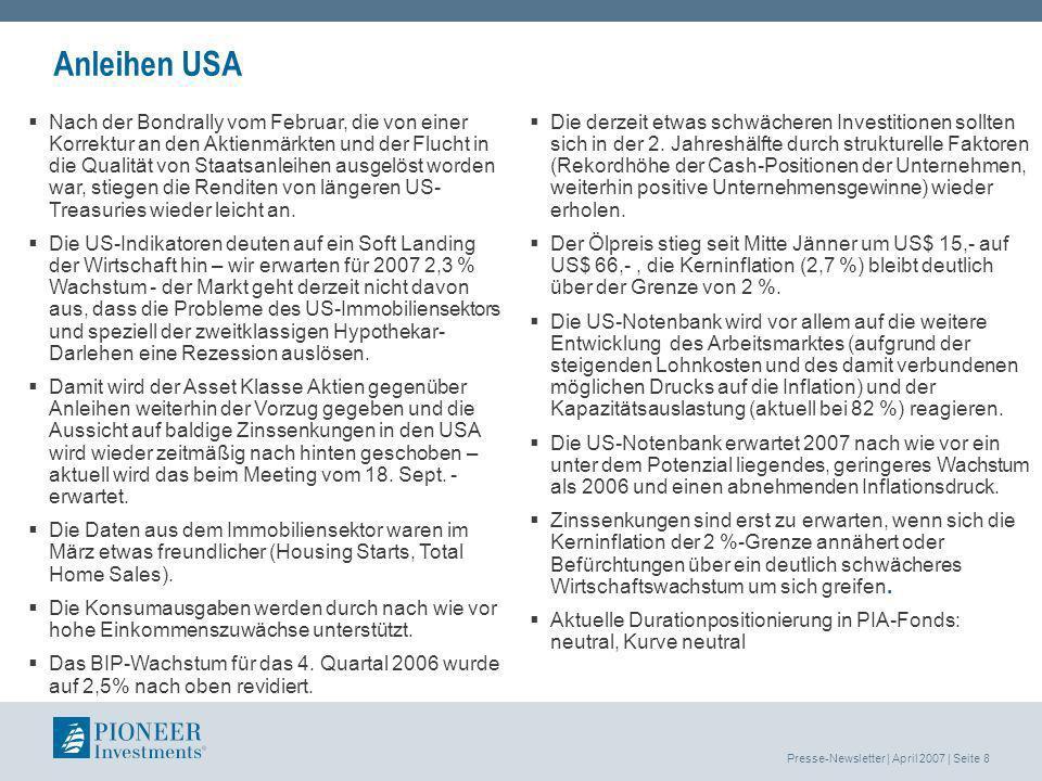 Presse-Newsletter | April 2007 | Seite 9 Pioneer Investments Austria Gesamtredaktion: Mag.