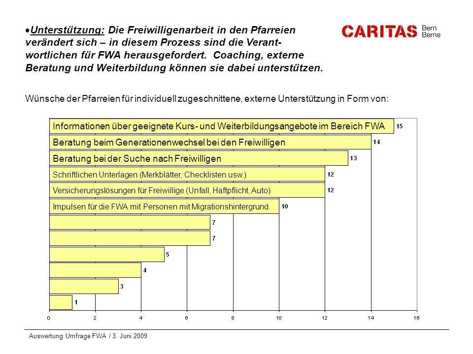 Auswertung Umfrage FWA / 3. Juni 2009 Unterstützung: Die Freiwilligenarbeit in den Pfarreien verändert sich – in diesem Prozess sind die Verant- wortl