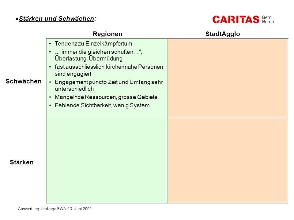 Auswertung Umfrage FWA / 3. Juni 2009 Stärken und Schwächen: Tendenz zu Einzelkämpfertum.. immer die gleichen schuften…, Überlastung, Übermüdung fast