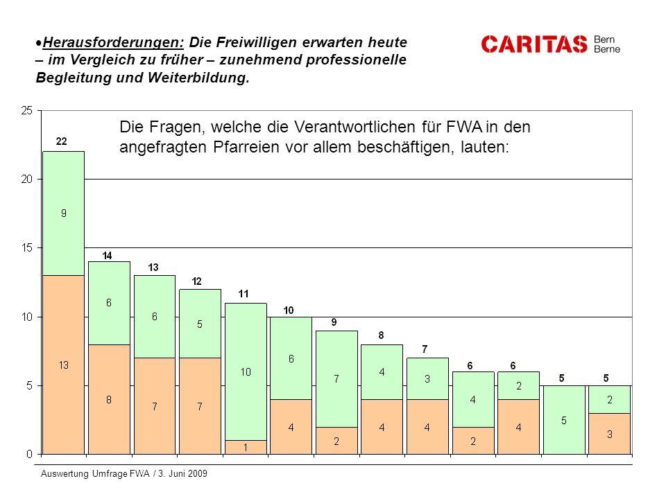 Auswertung Umfrage FWA / 3. Juni 2009 Herausforderungen: Die Freiwilligen erwarten heute – im Vergleich zu früher – zunehmend professionelle Begleitun