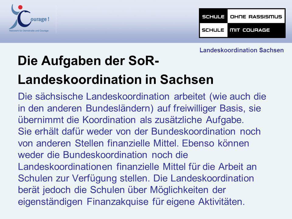 Die sächsische Landeskoordination arbeitet (wie auch die in den anderen Bundesländern) auf freiwilliger Basis, sie übernimmt die Koordination als zusä