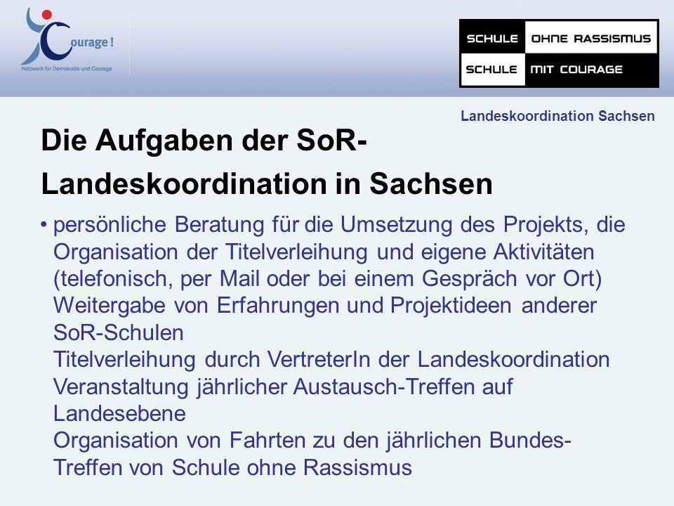 Die Aufgaben der SoR- Landeskoordination in Sachsen Landeskoordination Sachsen persönliche Beratung für die Umsetzung des Projekts, die Organisation d