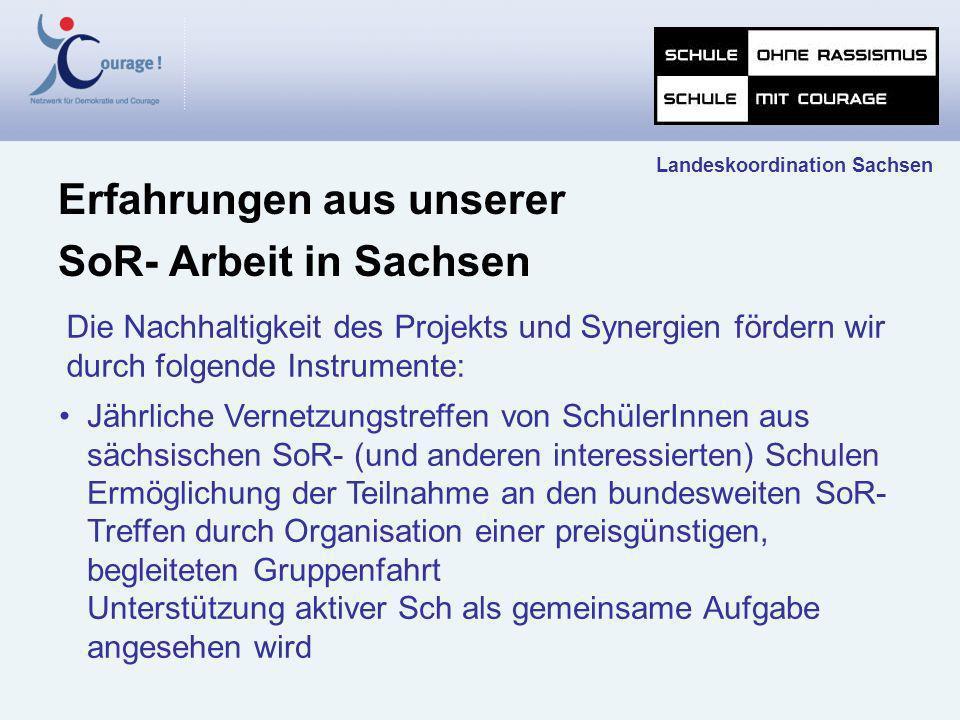 Die Nachhaltigkeit des Projekts und Synergien fördern wir durch folgende Instrumente: Erfahrungen aus unserer SoR- Arbeit in Sachsen Landeskoordinatio