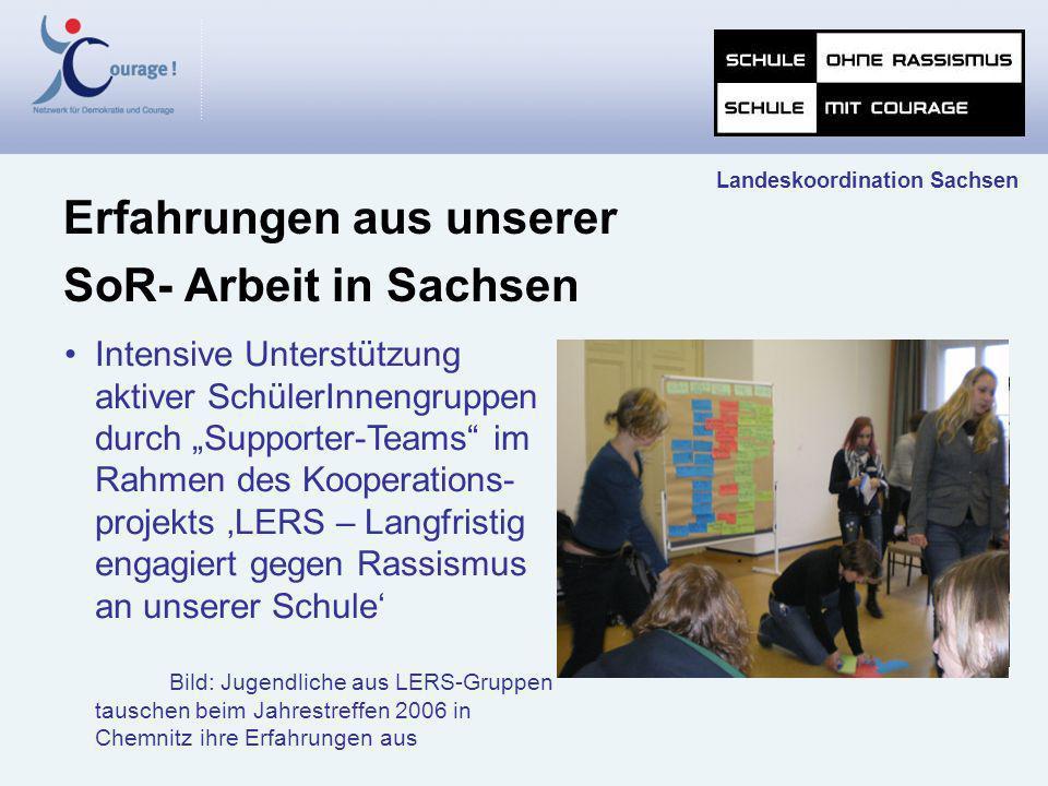 Erfahrungen aus unserer SoR- Arbeit in Sachsen Landeskoordination Sachsen Intensive Unterstützung aktiver SchülerInnengruppen durch Supporter-Teams im