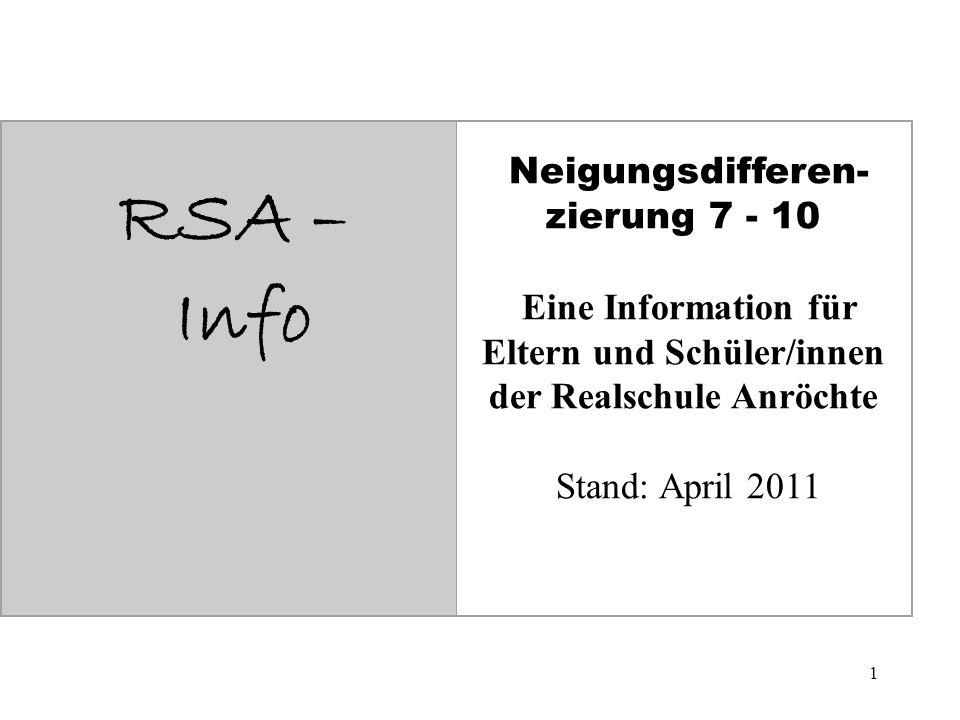 1 RSA – Info Neigungsdifferen- zierung 7 - 10 Eine Information für Eltern und Schüler/innen der Realschule Anröchte Stand: April 2011