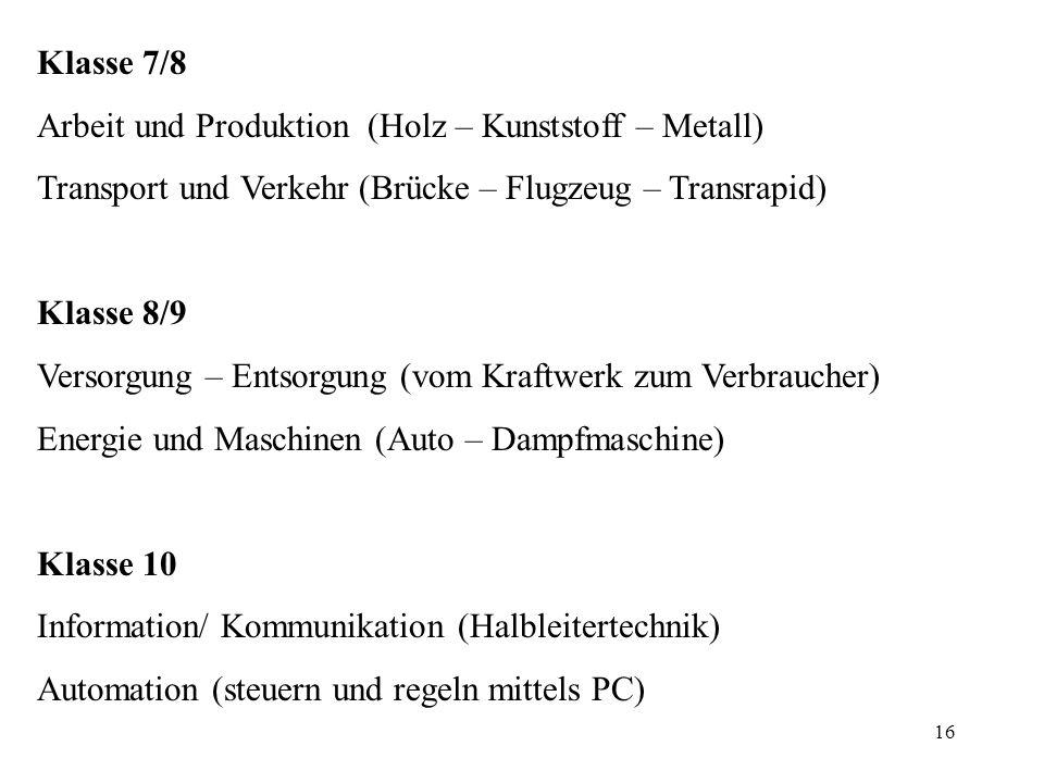 16 Klasse 7/8 Arbeit und Produktion (Holz – Kunststoff – Metall) Transport und Verkehr (Brücke – Flugzeug – Transrapid) Klasse 8/9 Versorgung – Entsor