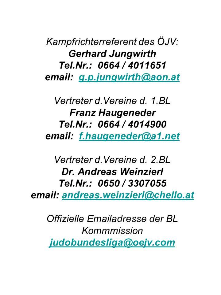 Kampfrichterreferent des ÖJV: Gerhard Jungwirth Tel.Nr.: 0664 / 4011651 email: g.p.jungwirth@aon.at Vertreter d.Vereine d.