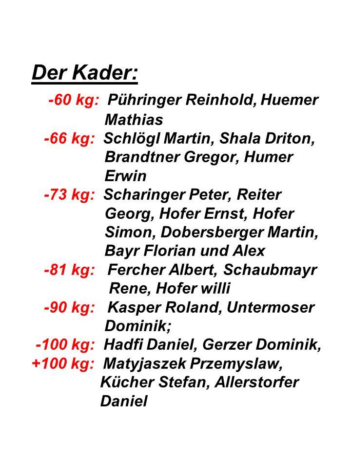 Der Kader: -60 kg: Pühringer Reinhold, Huemer Mathias -66 kg: Schlögl Martin, Shala Driton, Brandtner Gregor, Humer Erwin -73 kg: Scharinger Peter, Reiter Georg, Hofer Ernst, Hofer Simon, Dobersberger Martin, Bayr Florian und Alex -81 kg: Fercher Albert, Schaubmayr Rene, Hofer willi -90 kg: Kasper Roland, Untermoser Dominik; -100 kg: Hadfi Daniel, Gerzer Dominik, +100 kg: Matyjaszek Przemyslaw, Kücher Stefan, Allerstorfer Daniel