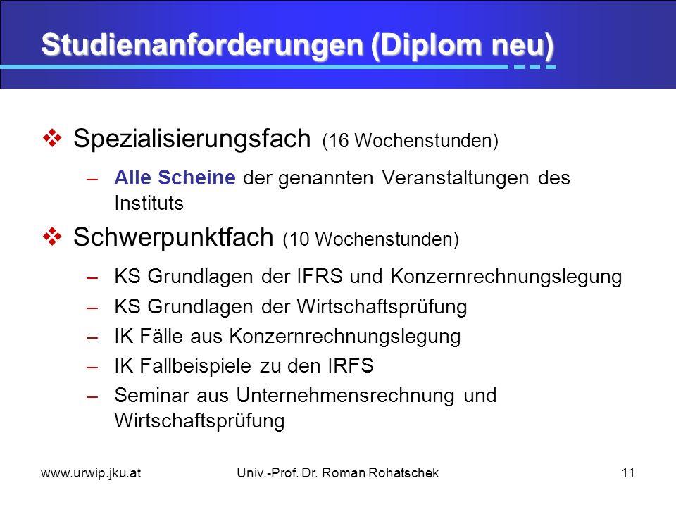 www.urwip.jku.atUniv.-Prof. Dr. Roman Rohatschek11 Studienanforderungen (Diplom neu) Spezialisierungsfach (16 Wochenstunden) –Alle Scheine der genannt