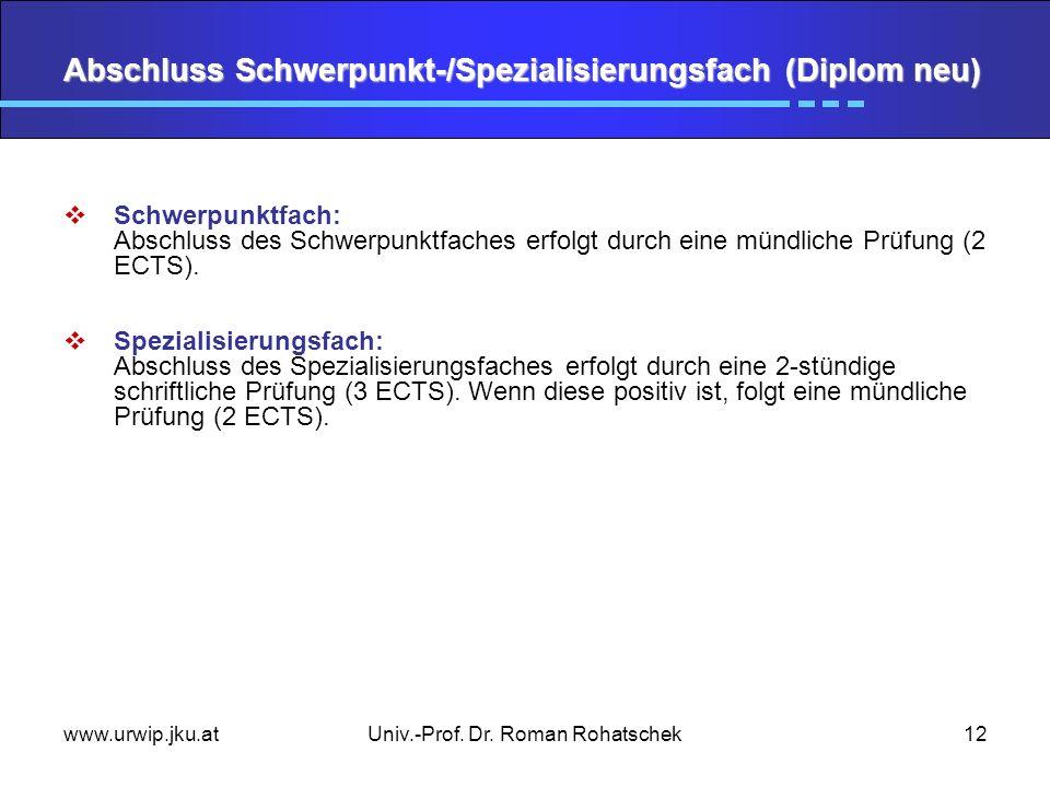www.urwip.jku.atUniv.-Prof. Dr. Roman Rohatschek12 Abschluss Schwerpunkt-/Spezialisierungsfach (Diplom neu) Schwerpunktfach: Abschluss des Schwerpunkt