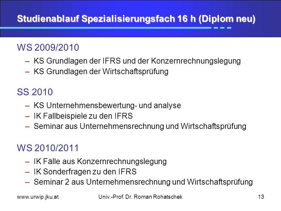 www.urwip.jku.atUniv.-Prof. Dr. Roman Rohatschek13 Studienablauf Spezialisierungsfach 16 h (Diplom neu) WS 2009/2010 –KS Grundlagen der IFRS und der K