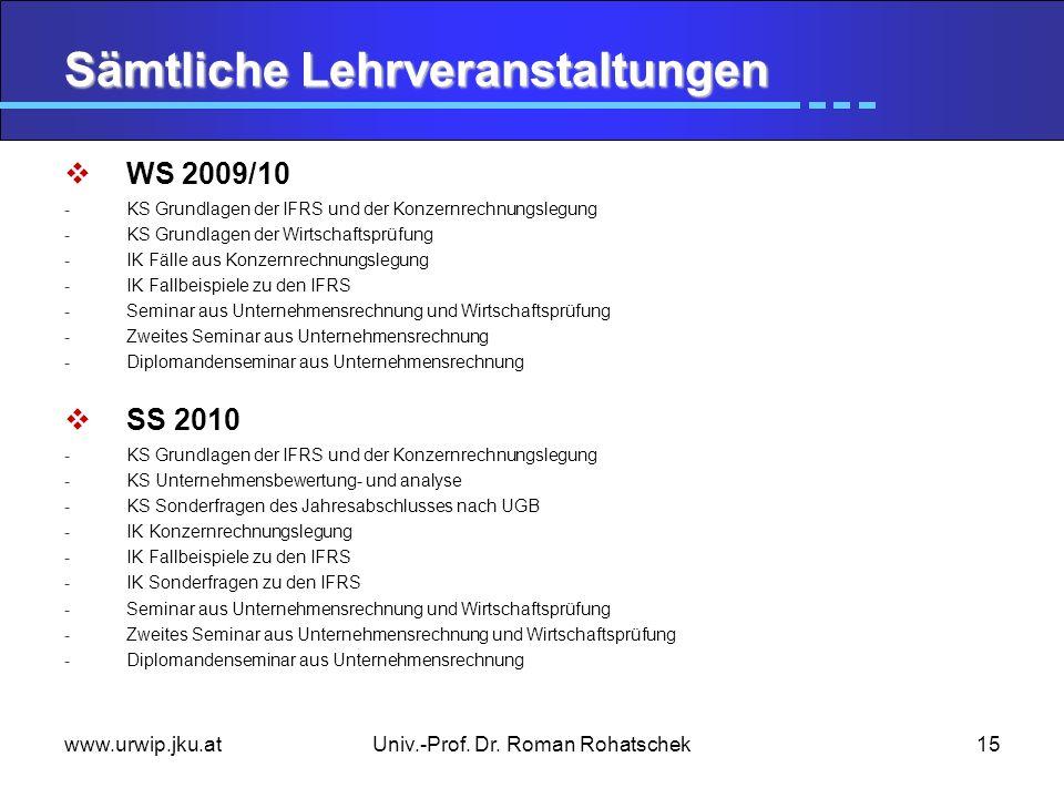 www.urwip.jku.atUniv.-Prof. Dr. Roman Rohatschek15 Sämtliche Lehrveranstaltungen WS 2009/10 -KS Grundlagen der IFRS und der Konzernrechnungslegung -KS