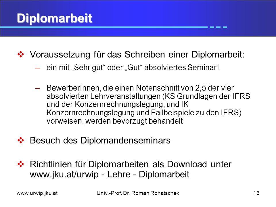 www.urwip.jku.atUniv.-Prof. Dr. Roman Rohatschek16 Diplomarbeit Voraussetzung für das Schreiben einer Diplomarbeit: –ein mit Sehr gut oder Gut absolvi