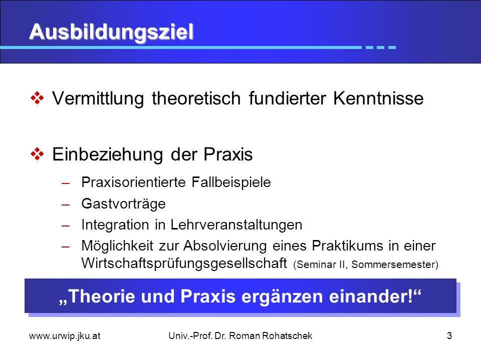www.urwip.jku.atUniv.-Prof. Dr. Roman Rohatschek3 Ausbildungsziel Vermittlung theoretisch fundierter Kenntnisse Einbeziehung der Praxis –Praxisorienti