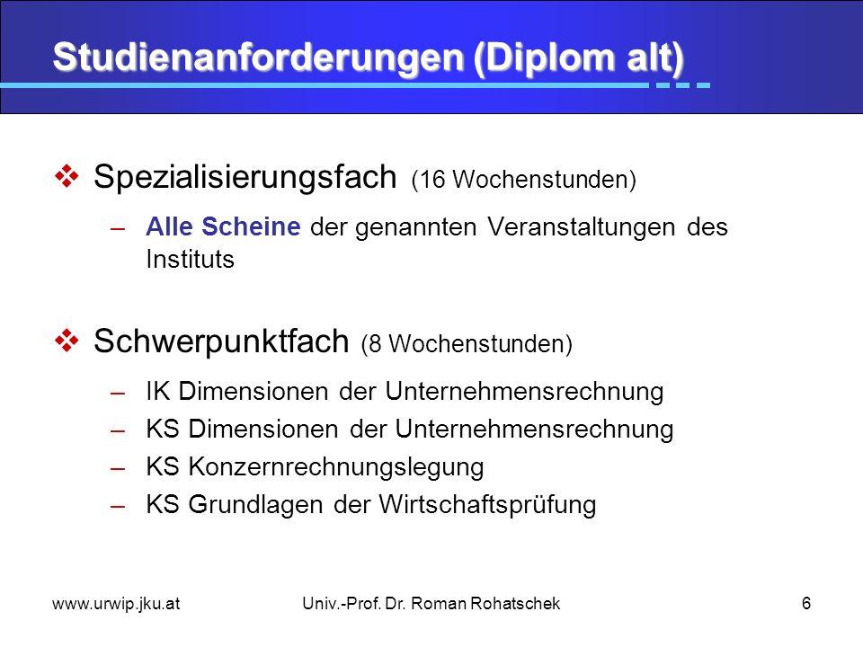www.urwip.jku.atUniv.-Prof. Dr. Roman Rohatschek6 Studienanforderungen (Diplom alt) Spezialisierungsfach (16 Wochenstunden) –Alle Scheine der genannte