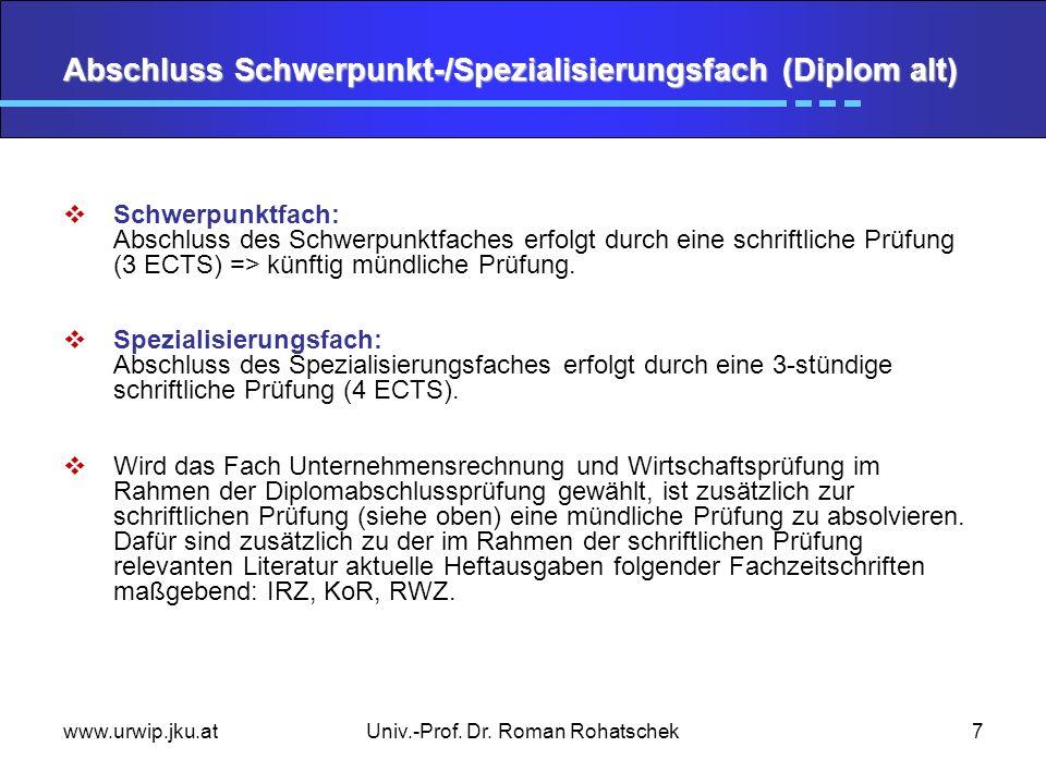 www.urwip.jku.atUniv.-Prof. Dr. Roman Rohatschek7 Abschluss Schwerpunkt-/Spezialisierungsfach (Diplom alt) Schwerpunktfach: Abschluss des Schwerpunktf