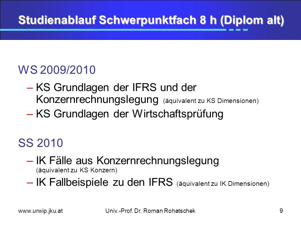 www.urwip.jku.atUniv.-Prof. Dr. Roman Rohatschek9 Studienablauf Schwerpunktfach 8 h (Diplom alt) WS 2009/2010 –KS Grundlagen der IFRS und der Konzernr