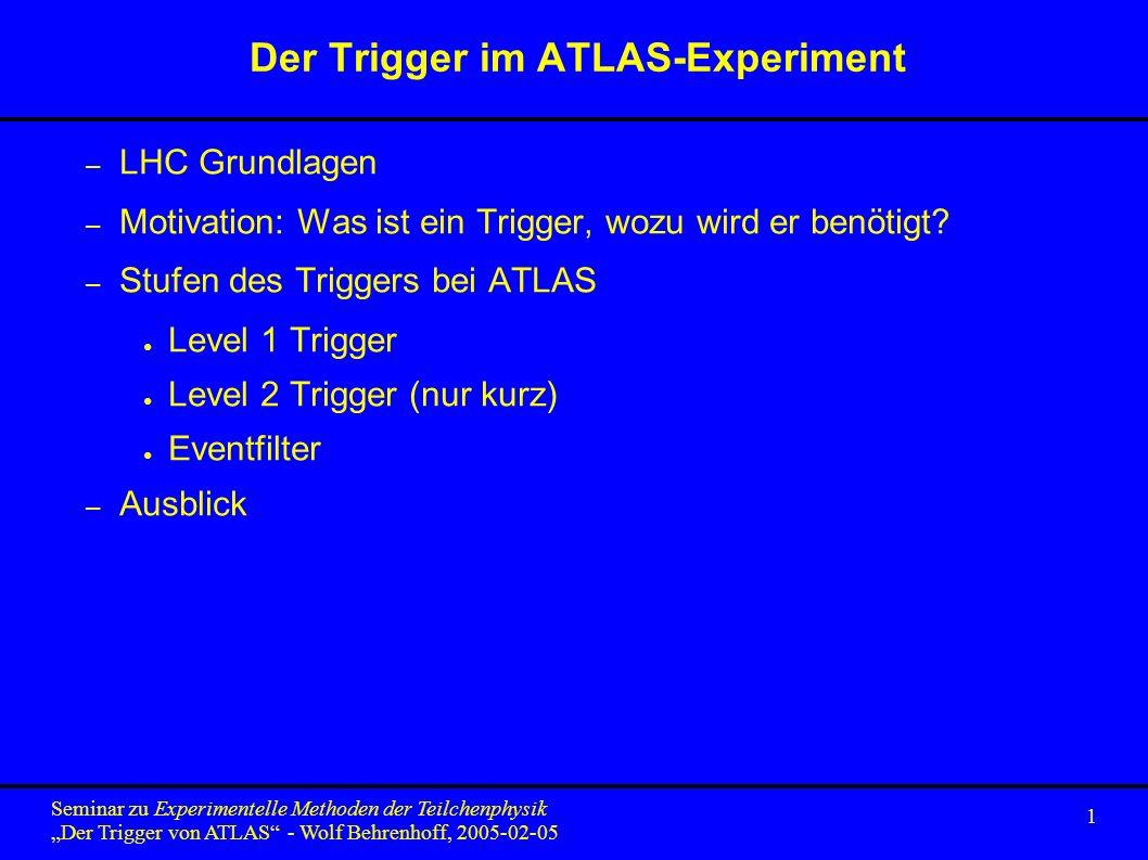 1 Seminar zu Experimentelle Methoden der Teilchenphysik Der Trigger von ATLAS - Wolf Behrenhoff, 2005-02-05 Der Trigger im ATLAS-Experiment – LHC Grundlagen – Motivation: Was ist ein Trigger, wozu wird er benötigt.