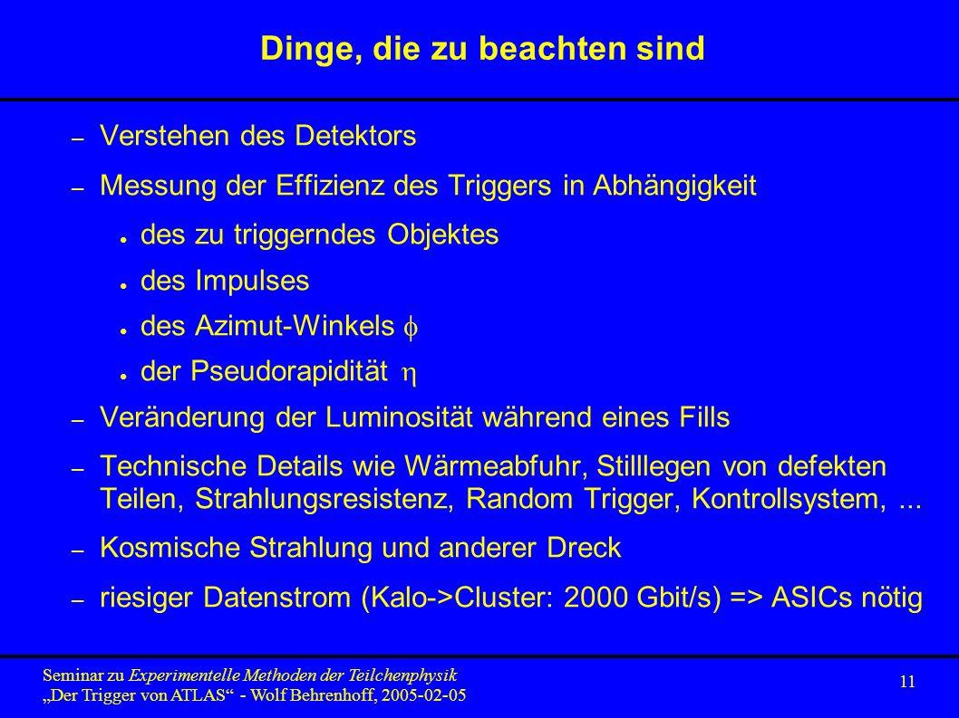 11 Seminar zu Experimentelle Methoden der Teilchenphysik Der Trigger von ATLAS - Wolf Behrenhoff, 2005-02-05 Dinge, die zu beachten sind – Verstehen d