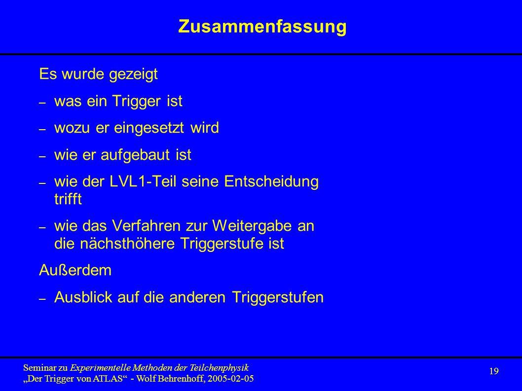 19 Seminar zu Experimentelle Methoden der Teilchenphysik Der Trigger von ATLAS - Wolf Behrenhoff, 2005-02-05 Zusammenfassung Es wurde gezeigt – was ein Trigger ist – wozu er eingesetzt wird – wie er aufgebaut ist – wie der LVL1-Teil seine Entscheidung trifft – wie das Verfahren zur Weitergabe an die nächsthöhere Triggerstufe ist Außerdem – Ausblick auf die anderen Triggerstufen