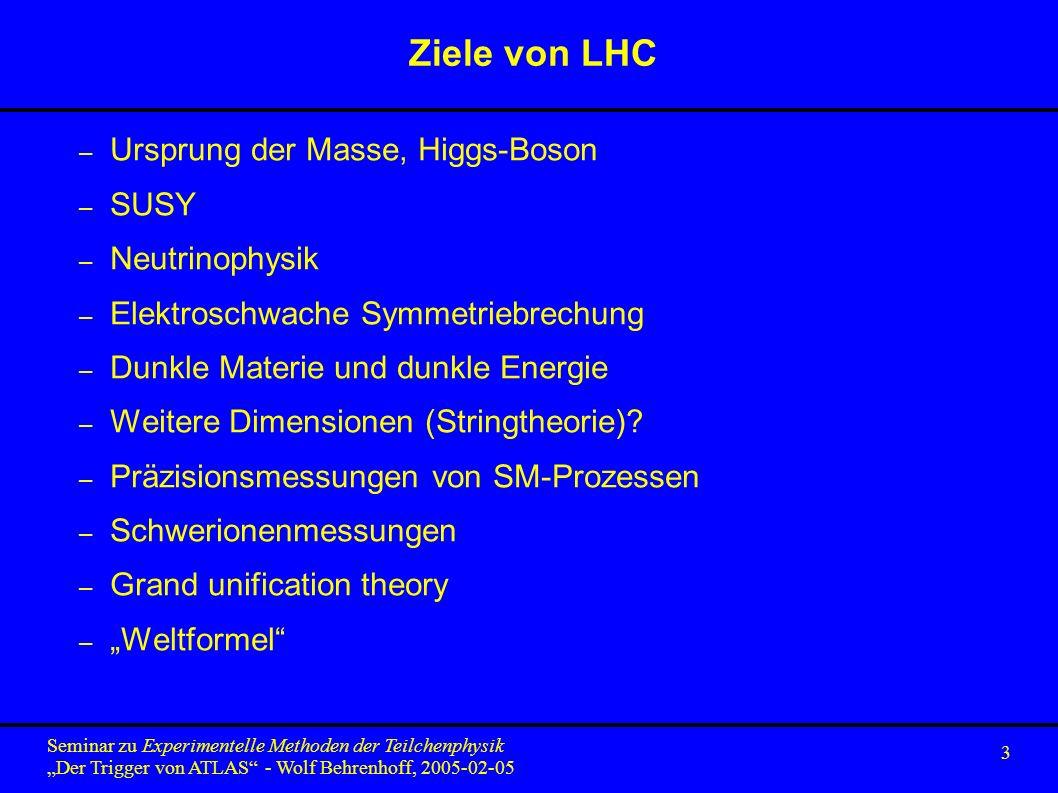 3 Seminar zu Experimentelle Methoden der Teilchenphysik Der Trigger von ATLAS - Wolf Behrenhoff, 2005-02-05 Ziele von LHC – Ursprung der Masse, Higgs-Boson – SUSY – Neutrinophysik – Elektroschwache Symmetriebrechung – Dunkle Materie und dunkle Energie – Weitere Dimensionen (Stringtheorie).