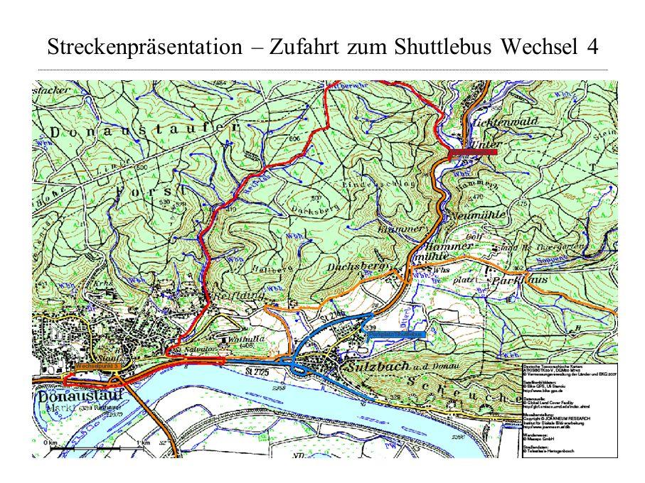 Streckenpräsentation – Zufahrt zum Shuttlebus Wechsel 4
